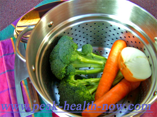 Organic vegetables steamed