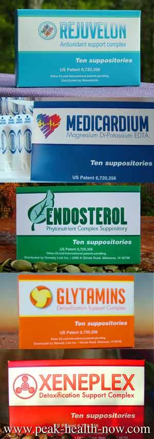 Rejuvelon Medicardium Xeneplex Glytamins Endosterol detox suppositories 5 pck