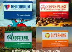 Rejuvelon Medicardium Xeneplex Glytamins Endosterol detox suppositories Mix 'n Match