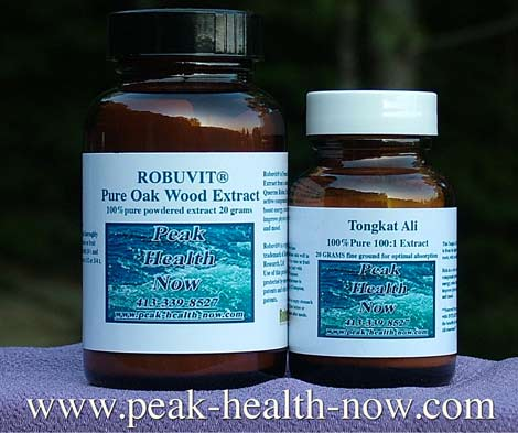 Tongkat Ali 100:1 Extract and Robuvit® Oak Wood Extract powders combo