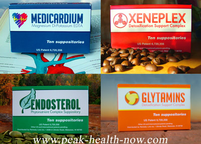 Medicardium Xeneplex Glytamins Endosterol detox suppositories